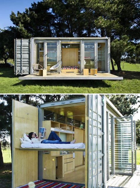 15 containers turned designer homes for Beach bach designs