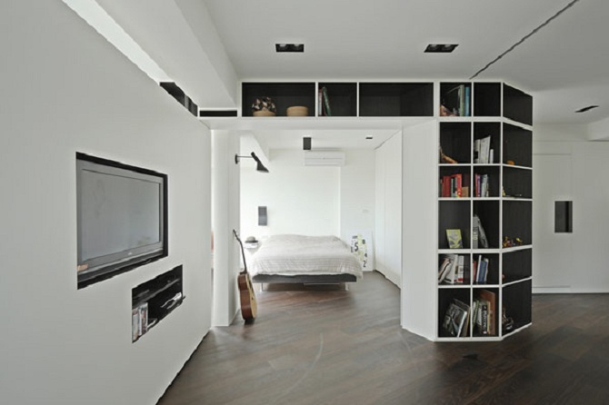 Room partitions a touch of stylishness A sleek apartment the divides rooms creatively